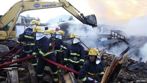 Пожар в тибетском городе