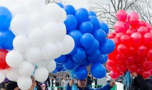 шары цветов российского флага