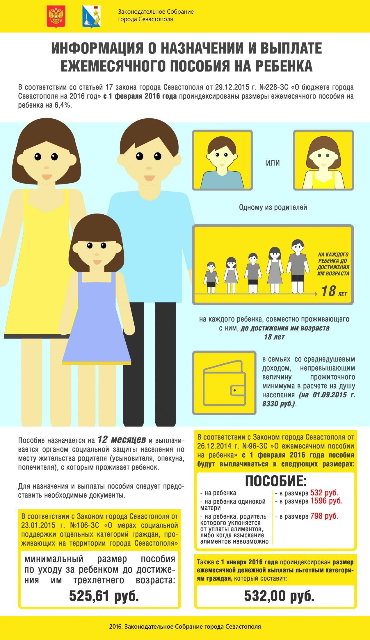 С 1 февраля 2016 года проиндексированы размеры ежемесячного пособия на ребенка
