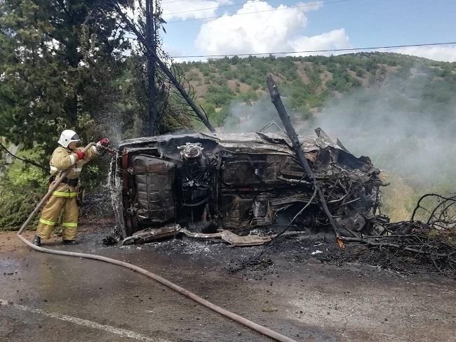 В Крыму автомобиль «BMW» врезался в дерево и загорелся